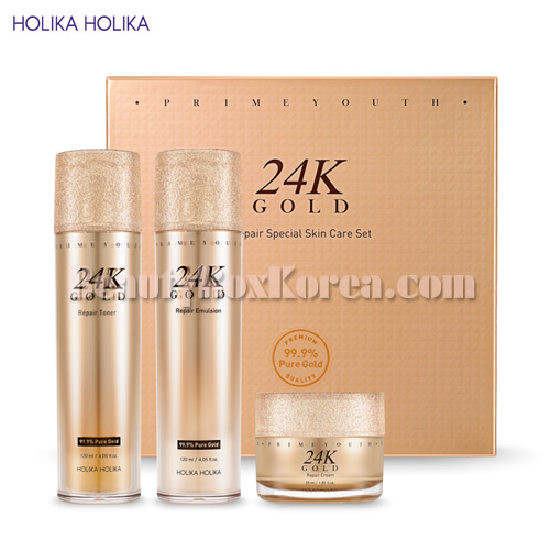 HOLIKA HOLIKA Prime Youth 24K Gold Repair Special Skin Set 3items,HOLIKAHOLIKA