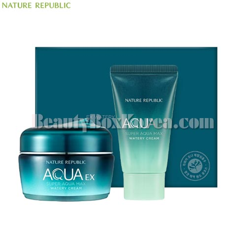 NATURE REPUBLIC Super Aqua Max EX Watery Cream Set 2items,Beauty Box Korea