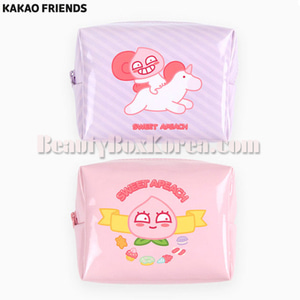 KAKAO FRIENDS Sweet Apeach Enamel Cube Pouch M 1ea,KAKAO FRIENDS