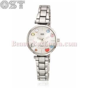 OST X BT21 Silver Metal Wristwatch 1ea [2nd Edition],Beauty Box Korea