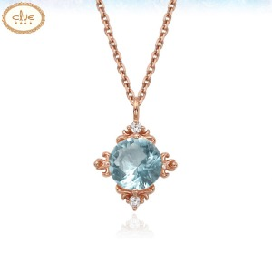 CLUE Frozen Elsa Aquamarine Snow Flower Silver Necklace (CLNR19B0GMPL) 1ea [CLUE X Disney]