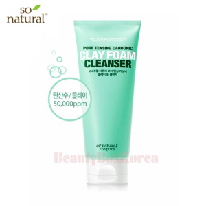 SO NATURAL Pore Tensing Carbonic Clay Foam Cleanser 120ml,SO NATURAL