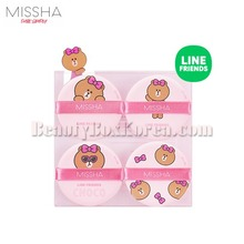 MISSHA Tension Pact Puff Fitting 4ea[LINE FRIENDS Edition],MISSHA