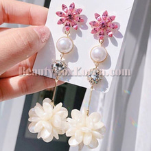 BLING STAR Pink Flower Pearl Drop Earrings 1pair,BLING STAR
