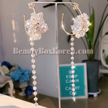 BLING STAR Beads Long Drop Earrings 1pair,BLING STAR