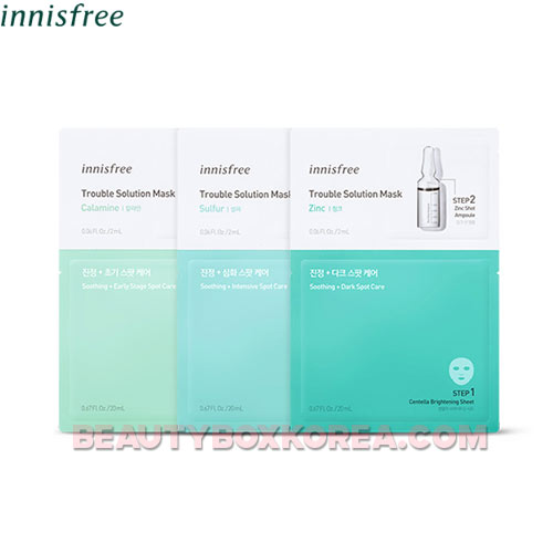 INNISFREE Trouble Solution Mask 22ml*3sheets,INNISFREE