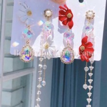 BLING STAR Summer Cubic Unbalance Flower Drop Earrings 1pair,BLING STAR