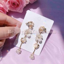 BLING STAR Handmade Gold Daisy Fresh Water Pearl Drop Earrings 1pair,Beauty Box Korea