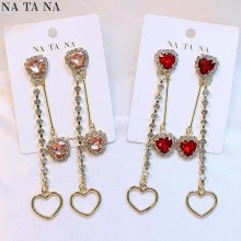 NA TA NA Heart Two-Way Cubic Bold Earrings 1pair,Beauty Box Korea
