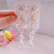 BLING STAR Bunch Of Cubic Flower Pearl Drop Earrings 1pair,Beauty Box Korea