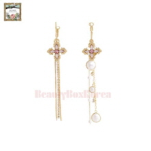 STRAWBERRY SHERBET Stand By You Cross Pink Unbalance Long Drop Earrings 1pair,STRAWBERRY SHERBET