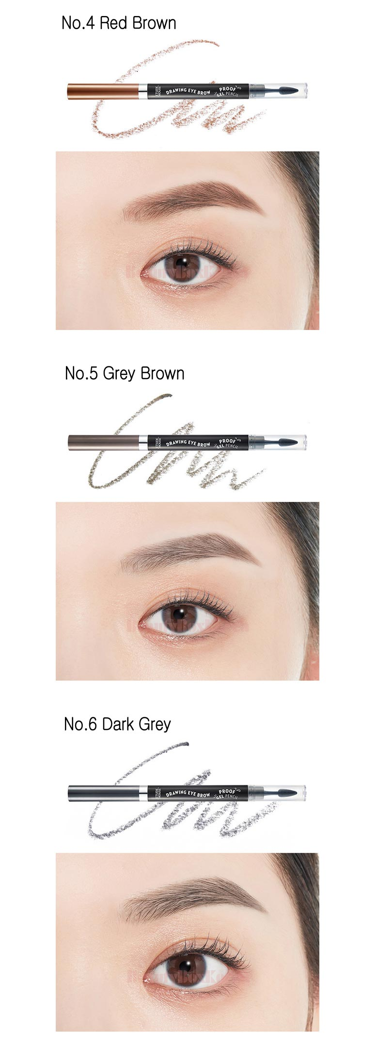 ETUDE HOUSE Drawing Eyebrow Proof Gel Pencil 0.2g. Pencil and Shadow type eyebrow. How to Use