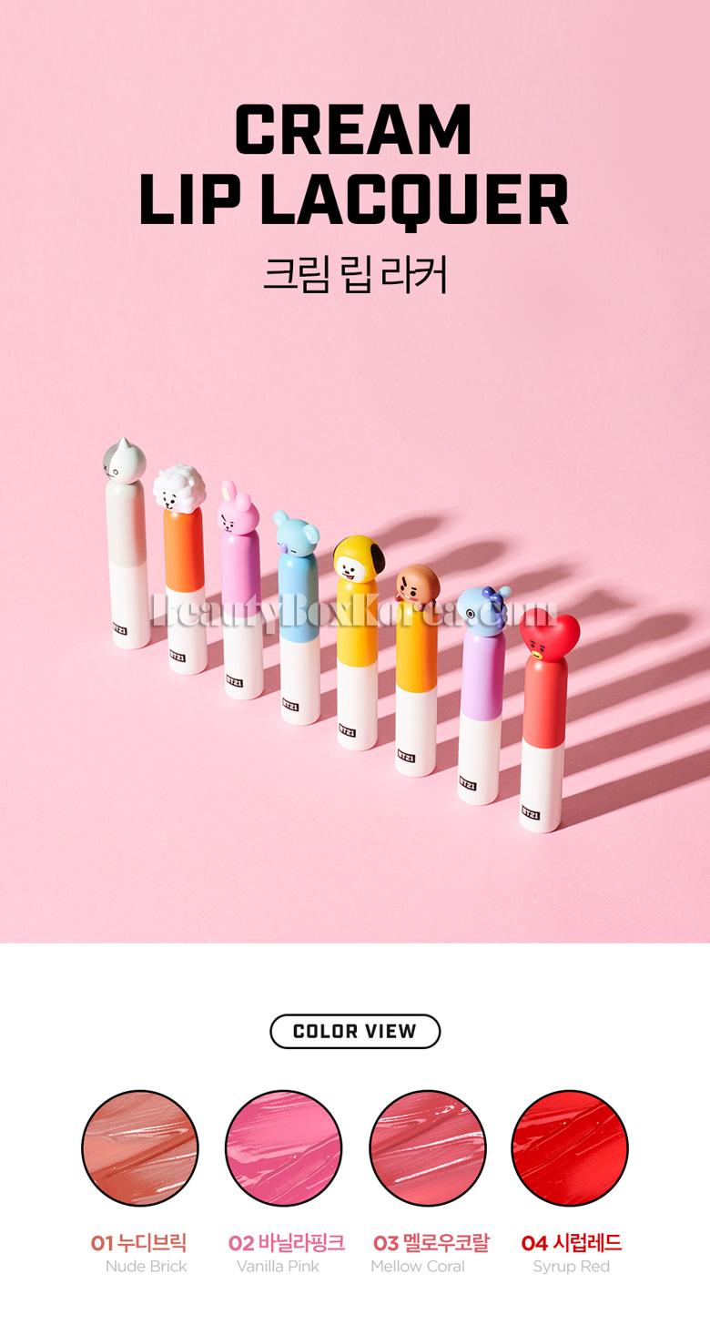 Beauty Box Korea - VT COSMETICS BT21 Cream Lip Lacquer 4 5g[VTxBT21