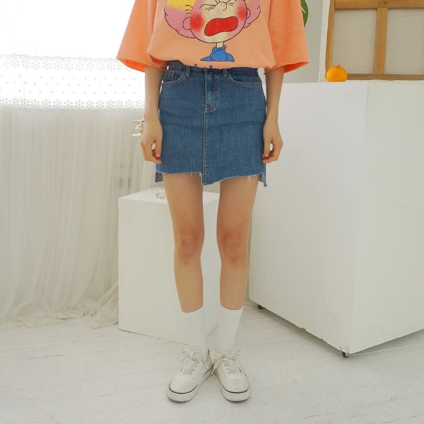 conk Unbalance Denim skirt