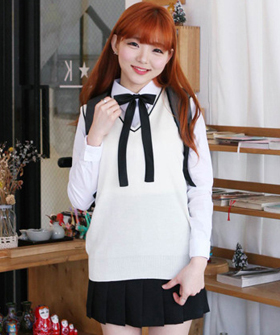 school look line vest knit