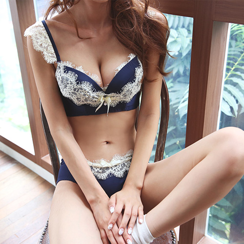 Dabagirl Lace-Trimmed Bra and Panties Set