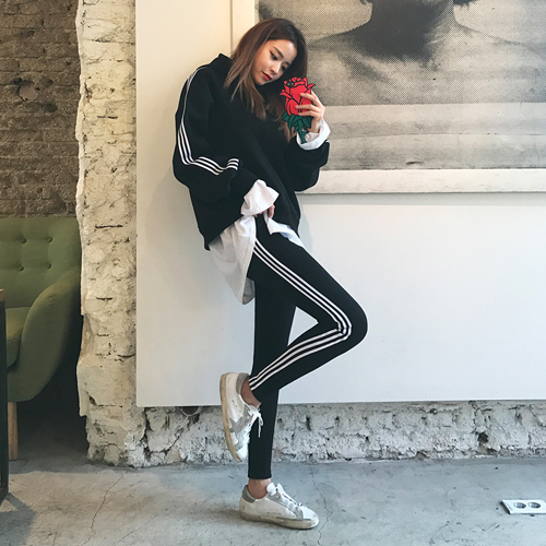 Dabagirl Striped Side Oversized Hoodie and Tapered Pants Set