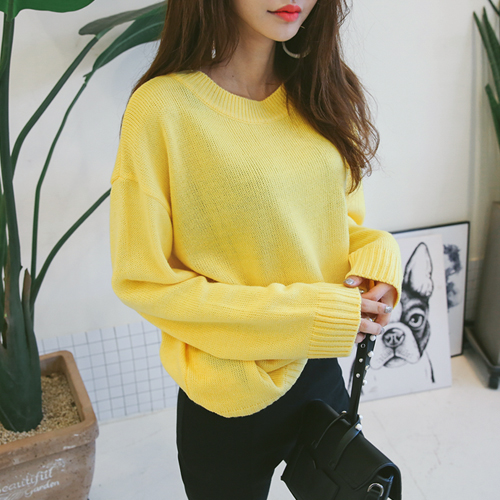 Dabagirl Basic Drop Shoulder Knit Pullover