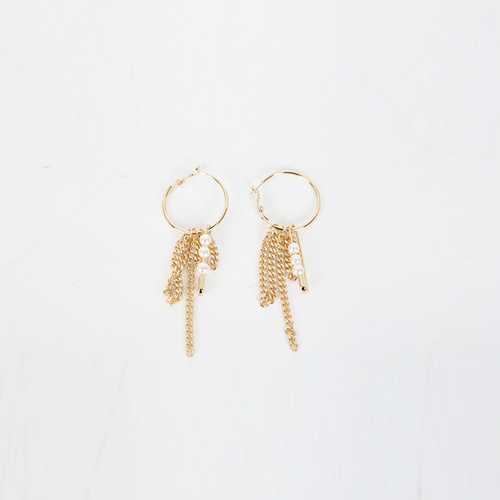 Dabagirl Faux Pearl Chain Hoop Earrings
