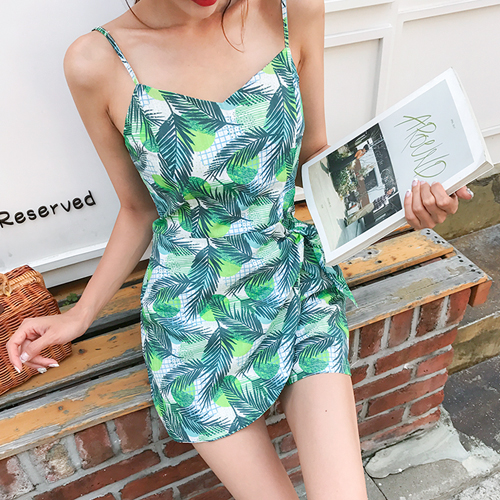 Dabagirl Tropical Print Sleeveless Romper
