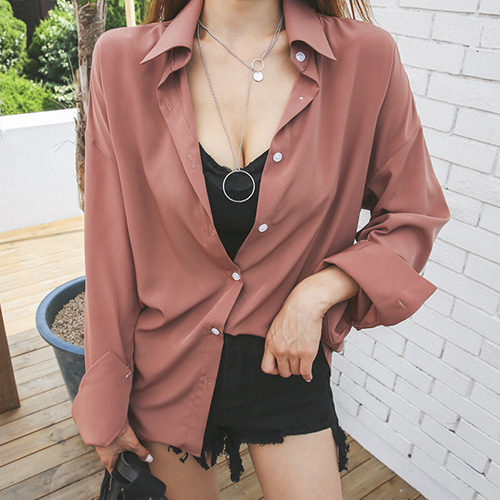 Dabagirl Pointed Collar Oversized Shirt