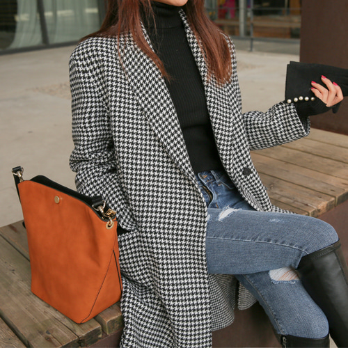Dabagirl Notched Collar Check Coat
