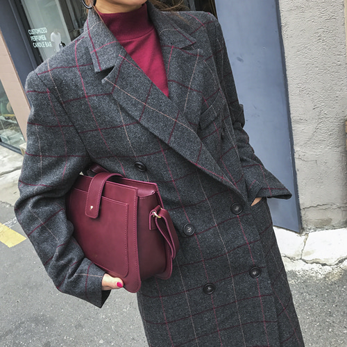 Dabagirl Double Breasted Check Coat