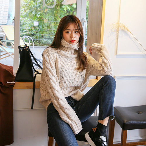 Dabagirl Turtleneck Extended Sleeve Cable Knit Top
