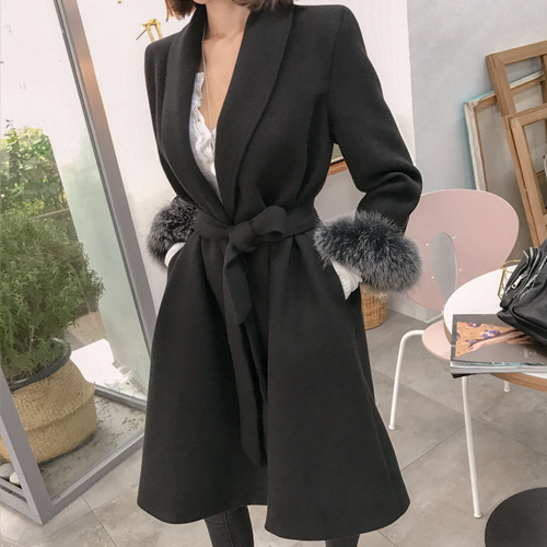 Dabagirl Faux Fur Cuffed Shawl Collar Coat