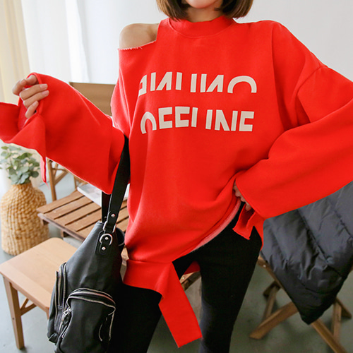 Dabagirl Slit Shoulder Loose Fit Graphic Print Sweatshirt