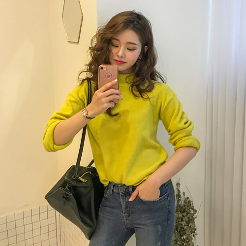 Dabagirl Mock Neck Loose Fit Knit Top
