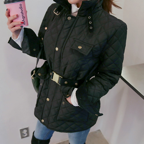 Dabagirl Multi Pocket Stand Collar Quilted Jacket