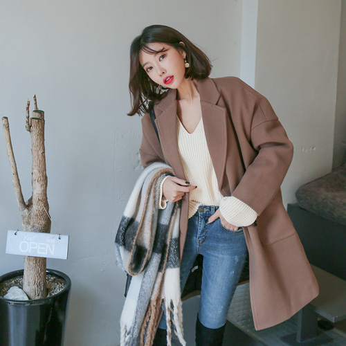 Dabagirl Double Breasted Loose Fit Coat