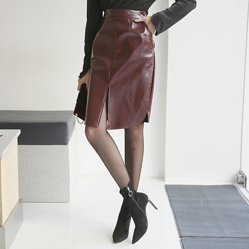 Dabagirl Side Zip Front Slit Coated Skirt
