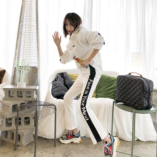 Dabagirl Lettering Side Stripe Sweatshirt and Sweatpants Set