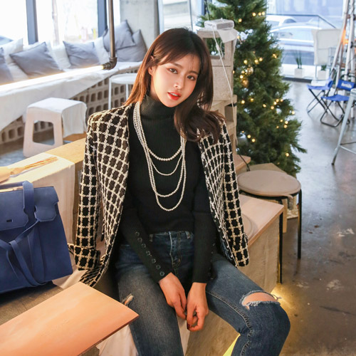 Dabagirl Collarless Check Tweed Jacket