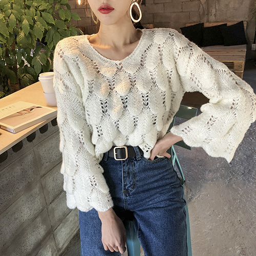 Dabagirl Round Neck Wide Sleeve Knit Top