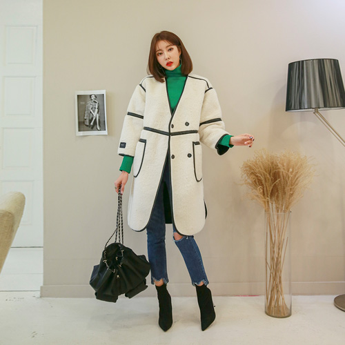 Dabagirl Snap Button Collarless Contrast Line Coat