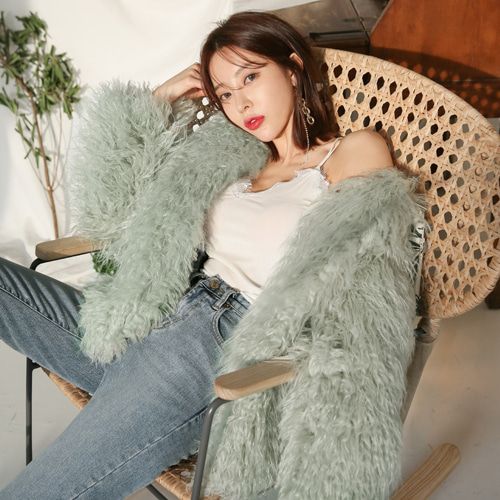 Dabagirl Faux Fur Collarless Jacket