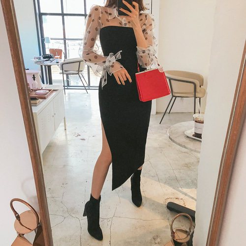 Dabagirl Slit Hem Slim Fit Dress
