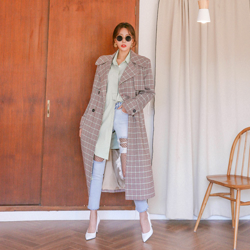 Dabagirl Belted Check Trench Coat