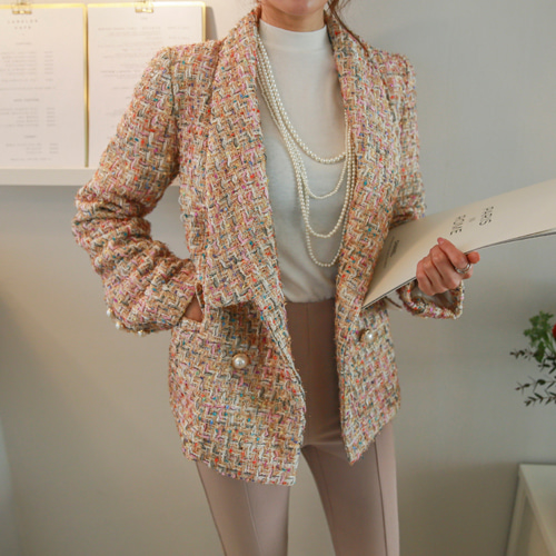 Dabagirl Faux Pearl Button Loose Fit Tweed Jacket
