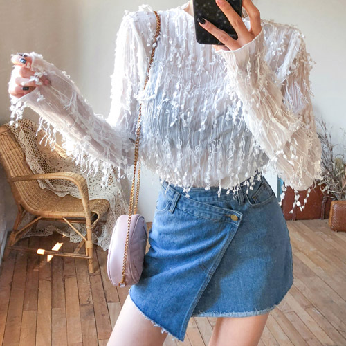 Dabagirl Frayed Sheer Blouse