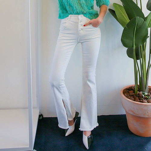 Dabagirl Button Fly Slit Flare Pants