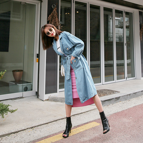 Dabagirl Loose Fit Denim Trench Coat