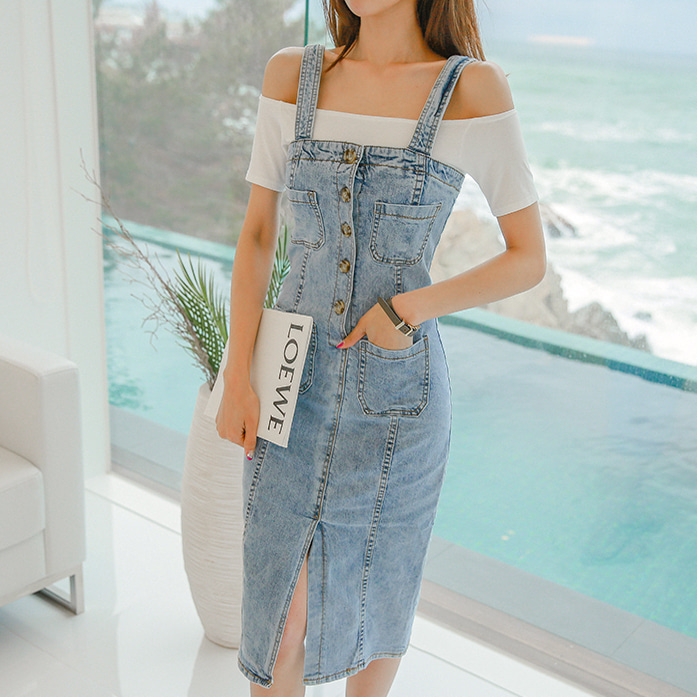Dabagirl Partial Button Placket Denim Pinafore Dress
