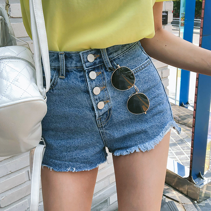 Dabagirl High Waist Raw Hem Denim Shorts