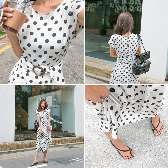Dabagirl Pleated Polka Dot Dress
