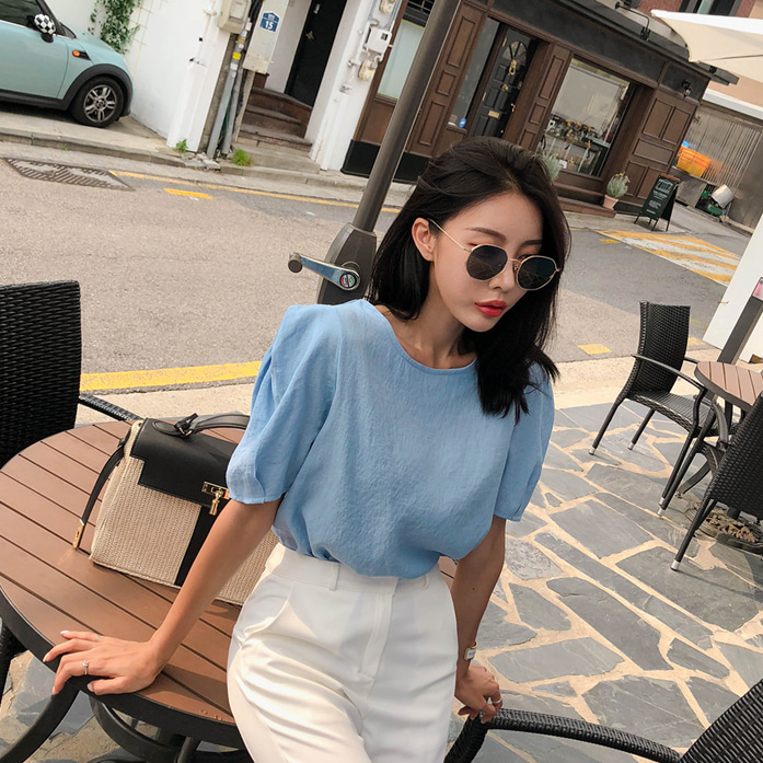 Dabagirl Round Neck Puff Shoulder Blouse