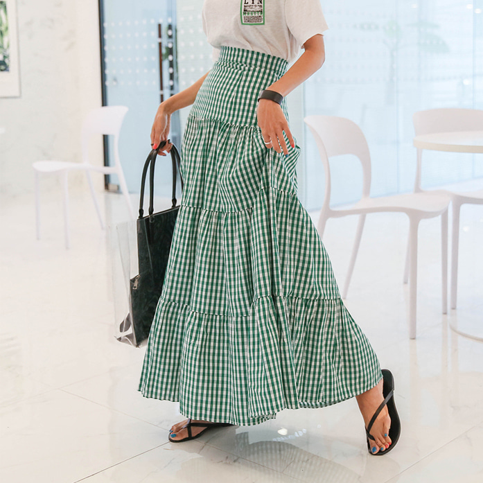Dabagirl Tiered Flare Check Skirt